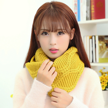 Winter Womens Warm Scarves Fashion Geometric Plaid Scarf LICs For Women Spring Female Solid  Knitted LIC Collar