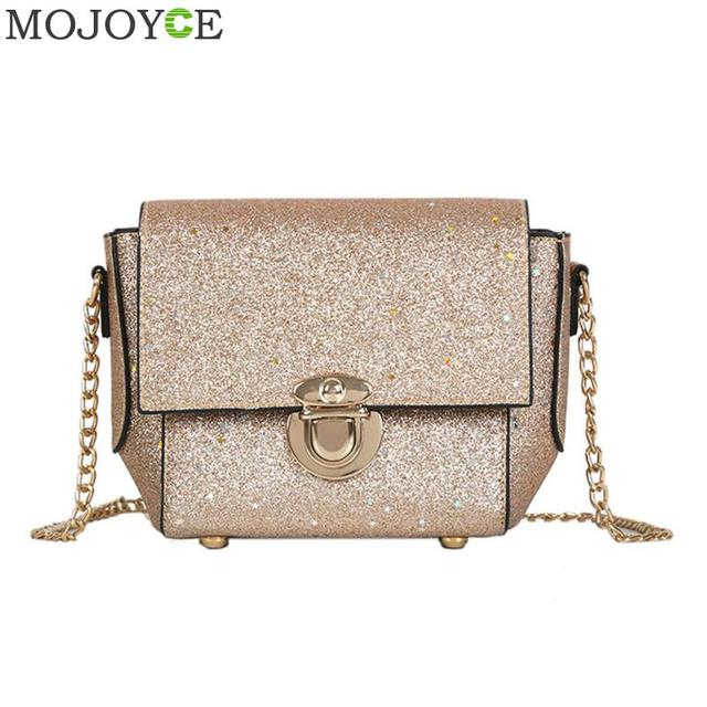 Glitter Sequins Women Bag Pu Leather Messener Bag Fashion Long Chain