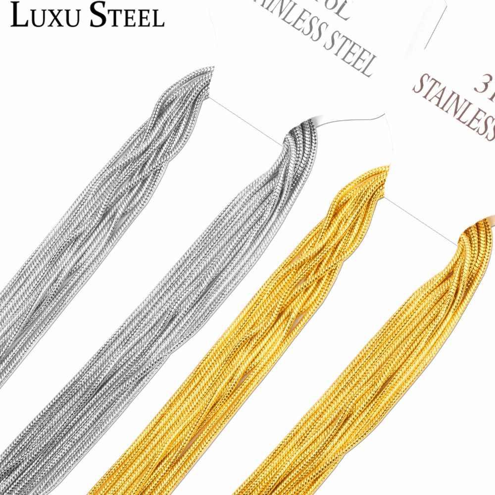 LUXUSTEEL 10 ชิ้น/ล็อตสร้อยคอสร้อยคอสร้อยคอสแตนเลสทอง/สีเหล็กสร้อยคอจี้กุ้งก้ามกราม Clasp inoxidable