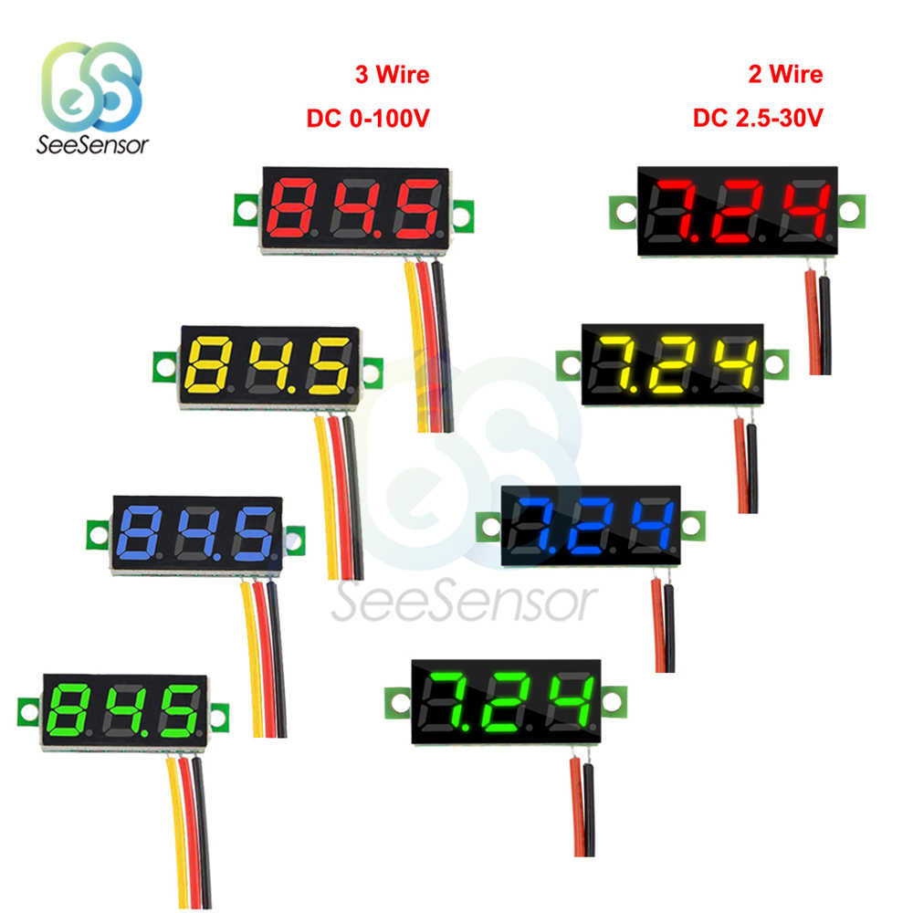 0.28 inch DC 0-100V 12V Mini LED Digitale Voltmeter Voltage Meter Panel Volt Tester Detector Monitor rood Groen Blauw Geel Wit