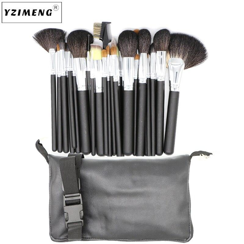 Pro 15 шт. набор кистей для макияжа Пудра основа для век консилер тушь для ресниц, кисть для губ инструмент черный/серебристый с сумкой - 3