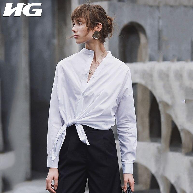 HG blanc lâche Blouse femmes irrégulière mince mode bouton élégant col montant loisirs 2019 nouveau automne chemises dames ZYQ1168