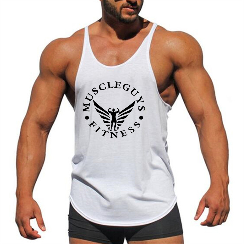Muscleguys Brand Fitness Clothing Bodybuilding Stringer   Tank     Top   Mens Singlet Cotton Sleeveless shirt Workout Man Undershirt