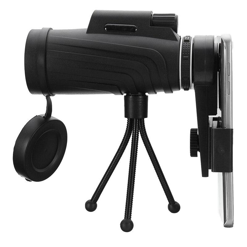 40X60 HD Zoom Lente Monocular Telescopio + Trípode + Clip para Samsung para iPhone Xiaomi Huawei Camping Viaje Impermeable Lente de Teléfono