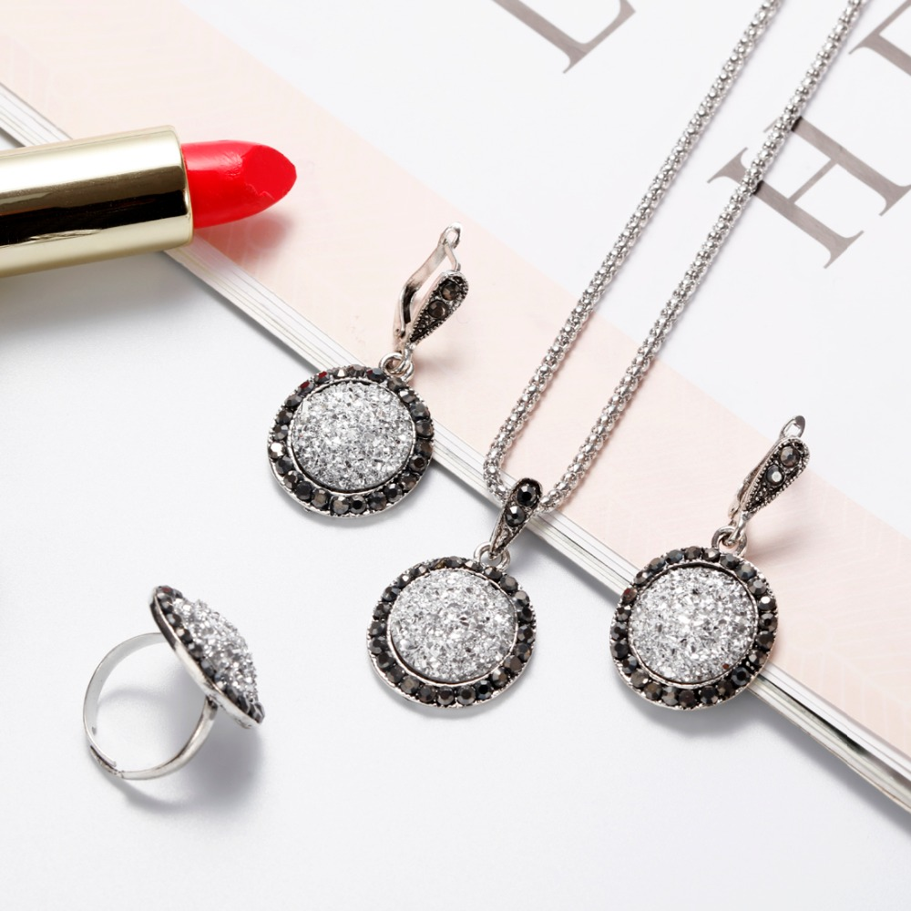 ZOSHI 3pcs Vintage Gem Jewelry Set Women Antique Silver Color Jewelry Set Crystal Round Broken Stone Necklace Earrings Sets