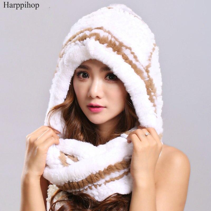 Écharpes d'hiver en fourrure avec des chapeaux de fourrure véritable pour les femmes nouvelle écharpe de fourrure de luxe femme élégante tricot réel Rex fourrure de lapin écharpes à capuche