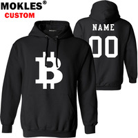 BITCOIN pullover logo custom name number autumn winter virtual currency jersey warm hat flag BTC pure black XBT Blue red clothes
