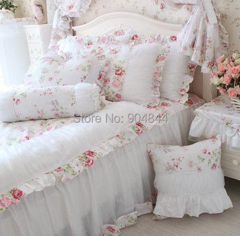 Home Textile Princess Rustic White Ruffle Red Rose Bedding