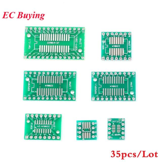 35 ชิ้นบอร์ด PCB SMD Turn To DIP Adapter Converter แผ่น SOP MSOP SSOP TSSOP SOT23 8 10 14 16 20 24 28 SMT DIP