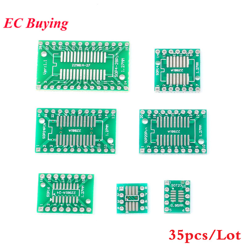 35pcs PCB Board Kit SMD Turn To DIP Adapter Converter Plate SOP MSOP SSOP TSSOP SOT23 8 10 14 16 20 24 28 SMT To DIP-in Integrated Circuits from Electronic Components & Supplies