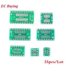 35pcs PCB Board Kit SMD Turn To DIP Adapter Converter Plate SOP MSOP SSOP TSSOP SOT23 8 10 14 16 20 24 28 SMT To DIP