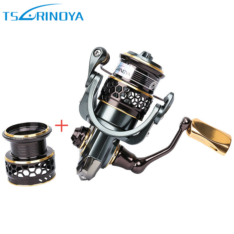 TSURINOYA Jaguar 1000 Spinning Fishing Reel with Spare Spool 9+1BB 5.2:1 Carp Fishing Coils Aluminum Spool Carretes De Pescar 2017 tsurinoya fs2000 spinning fishing reel 9 1bb 5 2 1 5kg metal spool screw in handle with spare spool molinete para pesca