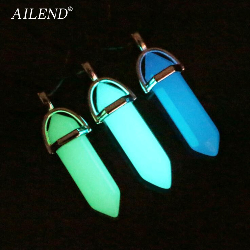 AILEND 2018 New Luminous Stone Fluorescent Hexagonal Column Necklace Natural Crystal Gem Stone Pendant Leather Chains Necklace