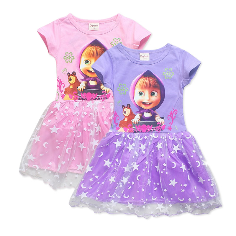 New Masha and bear girls dress cartoon summer dress pure cotton kids dresses for girls children's clothing princess party dress summer dresses for girls party dress 100% cotton summer cool and refreshing the harness green flowered dress 1 5years old