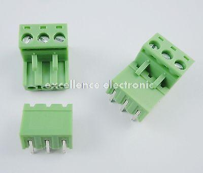 100 Pcs 5.08mm Pitch Right Angle 3 pin 3 way Screw Terminal Block Plug Connector 2EDG