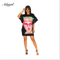 Adogirl Ice Cream Eye Girl Print Short Flare Sleeve Casual Mini Dress with Long Straps Earrings Plus Size Package Hip Club Dress