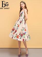 Baogarret Summer Fashion Designer Dress Womens Spaghetti Strap Crystal Beading Floral Print Backless Elegant Vintage