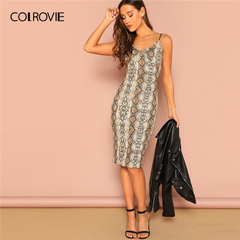 COLROVIE Snakeskin Print Spaghetti Strap Pencil Sexy Dress Women 2019 Summer Streetwear Night Out Bodycon Casual Midi Dress