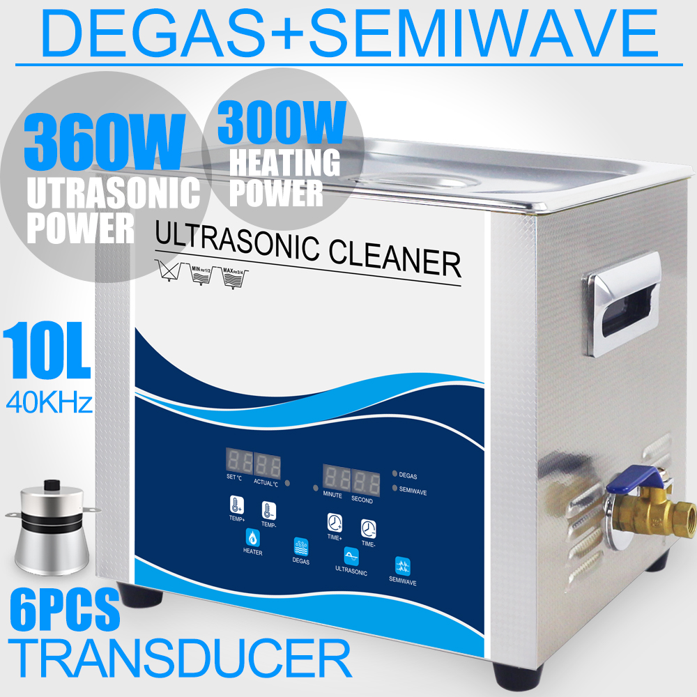 10L Ultrasonic Cleaner Bath Degas Heater 360W 240W Semi Wave Mode Ultrasound washer Dental Lab Optical