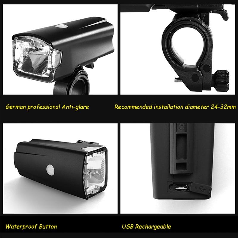LEADBIKE USB Recargable antideslumbrante Delantero Luz de La Bicicleta Del Manillar de la Bici Led Luces IPX-IV Faro Impermeable de la Bicicleta Accesorios