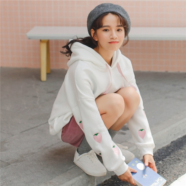 1b384ddd1 Harajuku Hoodies Kawaii Strawberry Embroidery Hooded Pullover Women ...
