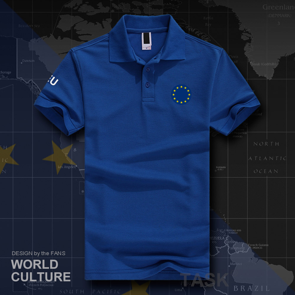 European Union United in Diversity EU EUR   polo   shirts men short sleeve brands printed for country 2019 cotton nation team 20