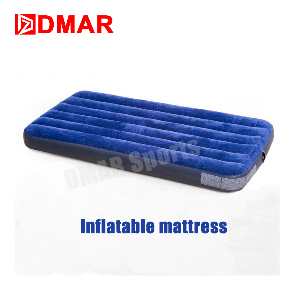 DMAR Outdoor Camping Self Inflatable Air Bed Mattress Waterproof Single Tent Mat PVC Striped Flocking Luxury One Size 2017 New 2014 intex high quality senior flocking single air bed