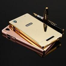 Для Philips Xenium V787 Ultra Slim 2 в 1 Металлический Алюминий рамка + Акриловые Зеркало Случай Мобильного Телефона Задняя Крышка Для Philips V787