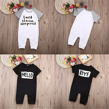 Infant Babies Boys Girls Hello Bye Rompers Clothes Baby boy girl Short sleeve letter print Romper Jumpsuit Sleepsuit Outfits Set