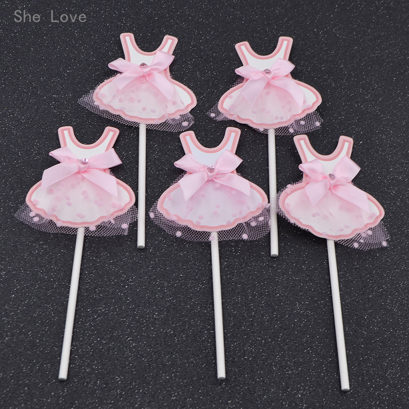 She Love 5pcs Pink Girls Dress Cupcake Toppers Baby Shower Birthday Party Favors Decoration Supplies