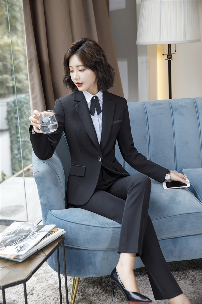 IZICFLY Spring Black Blazer Feminino Female Uniform Business Suits with Trouser Elegant Slim Office Suits for Women Clothing 4XL 59