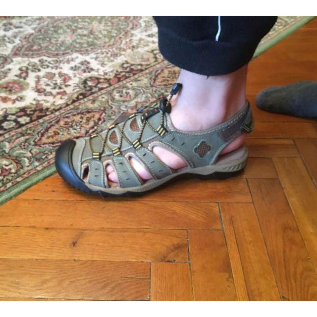 ROXDIA New Fashion Summer Beach Breathable Men Sandals Genuine Leather Men's Sandal Man Causal Shoes Plus Size 39-48 RXM007