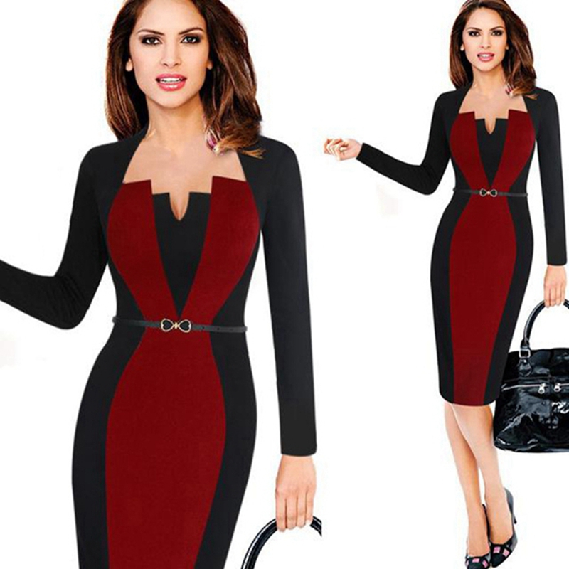 Women Elegant Square Neck Long Sleeve Patchwork Casual Party Work Office Fitted Stretch Slim Wiggle Pencil Sheath Bodycon Dress