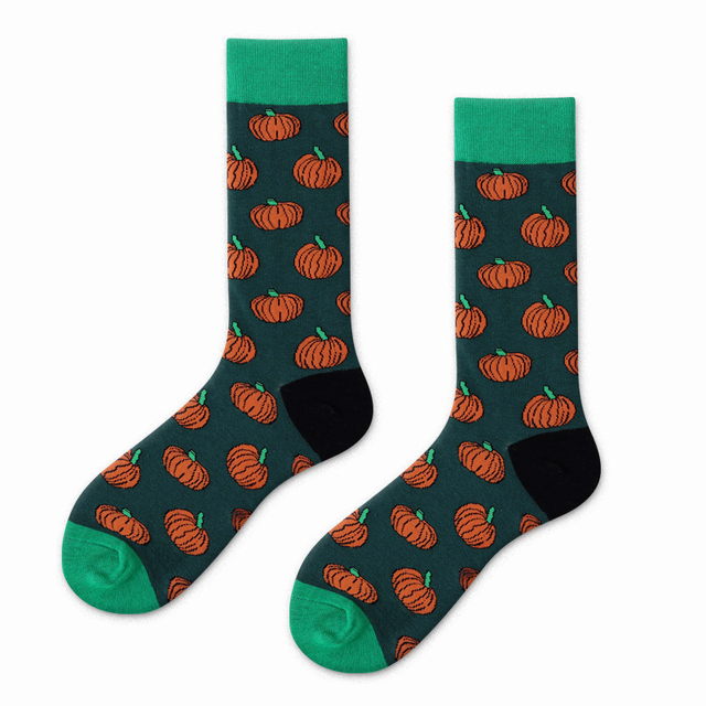 Watermelon Cactus Pineapple Pepper Pumpkin Fruit Plant Socks Men Women Funny Warm Socks Happy Short Cotton Crazy Male Cute Socks