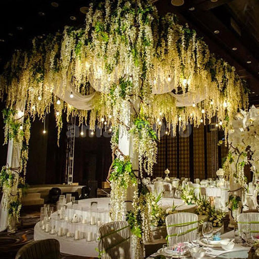 12 bunches Artificial Silk Wisteria String Wedding Party Decor Hanging Flowers