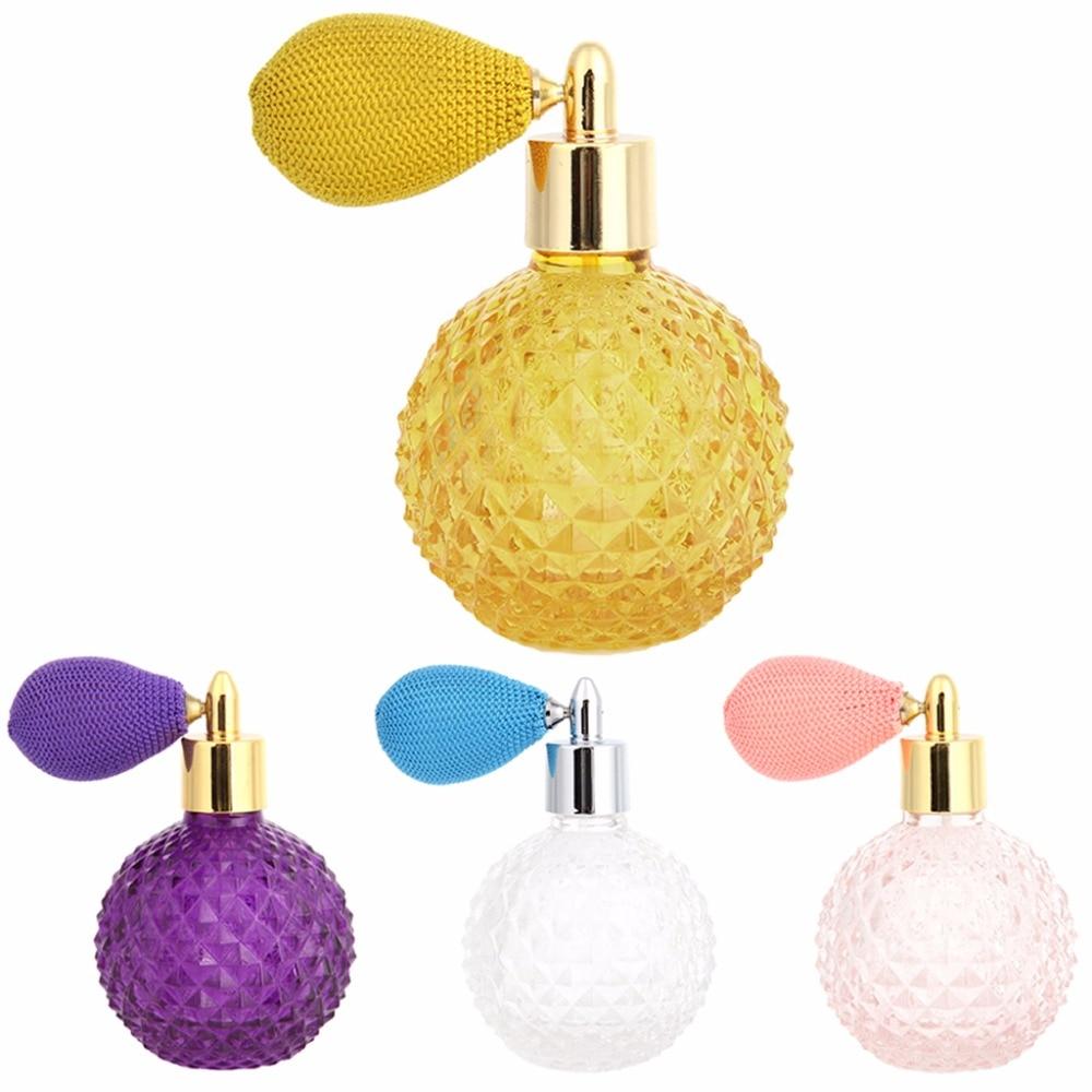 New 100ml Women Vintage Perfume Bottle Short Spray Atomizer Refillable Empty Glass Yellow,Purple,Blue,Pink