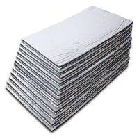 10pcs 7mm Aluminum Foil / 10mm Fiberglass 30x50cm Car Hood Insulation Pad Sound Proofing Deadening Insulation Closed Cell Foam