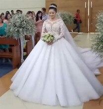 Nach Maß Ballkleid Lange Hülse Spitze Pailletten Perlen Kristall Luxus Brautkleider Vintage Braut Hochzeit Kleid GT07