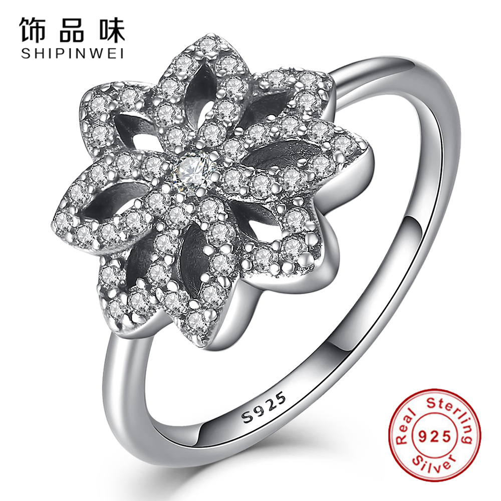 Shipinwei Luxury 925 Silver Sparkling Cz Flower Ringspatible With  European Fit Original Engagement Ring Jewelry