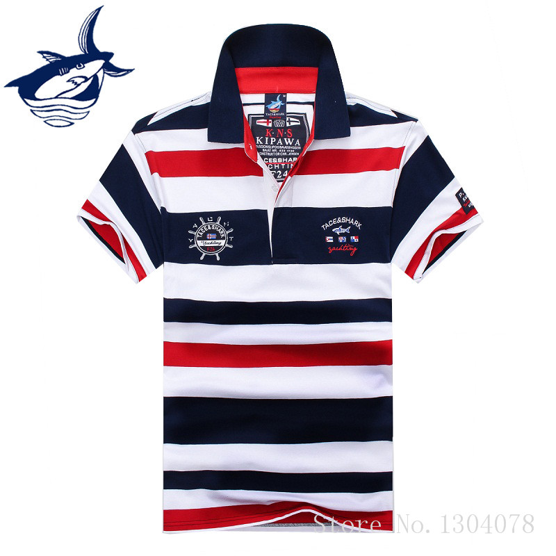 2019 High Quality Tops&Tees Men's Tace Shark Polo Shirts Fashion Style Summer Striped Shark Brand Short Sleeve Polo Shirt Men