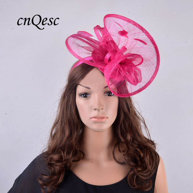 d57ef6b243f 2019 New fuchsia hot pink High quality Sinamay church hat party fascinator  w feather for Kentucky Derby
