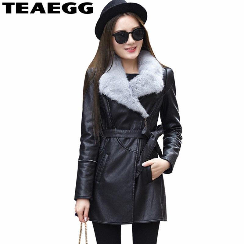 6b22b89af8b TEAEGG Meduim длинные черные из искусственной кожи Куртка женская зимняя  обувь пальто женская одежда 2019 толстый