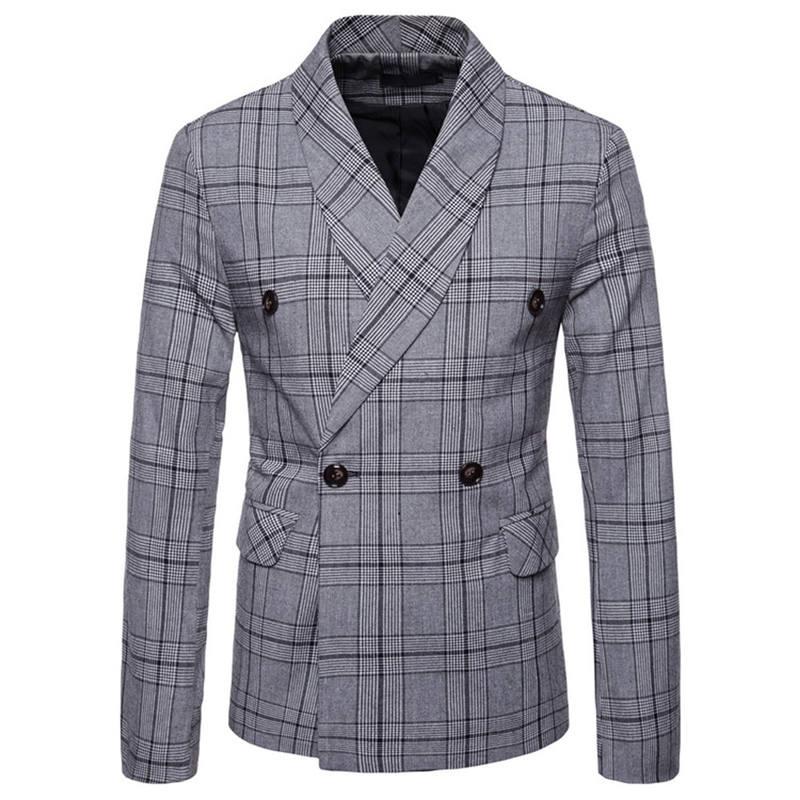 Men`s New Fashionable Checked Double-Breasted Suit Jacket Button Lattice Coat Casual Suit Jacket Men Slim Male Suit L15# (2)