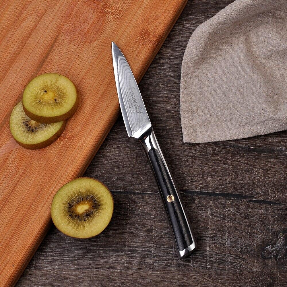 2018 Sunnecko 3.5 À Éplucher Couteau Damas Acier Couteaux de Cuisine Pour Fruits Trancheuse Japonais VG10 Core Rasoir Lame Tranchante G10 poignée