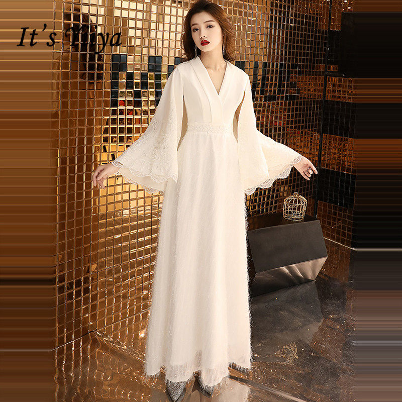 It's YiiYa Evening Dress 2019 White Shawl Style V-neck Design Flare Sleeve Evening Gowns Party Dresses LX1411 Robe De Soiree