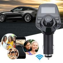 купить Car Bluetooth Wireless Mp3 Player Handsfree Car Kit FM Transmitter 5V 2.1A USB Charger LCD Display Car FM Modulator дешево