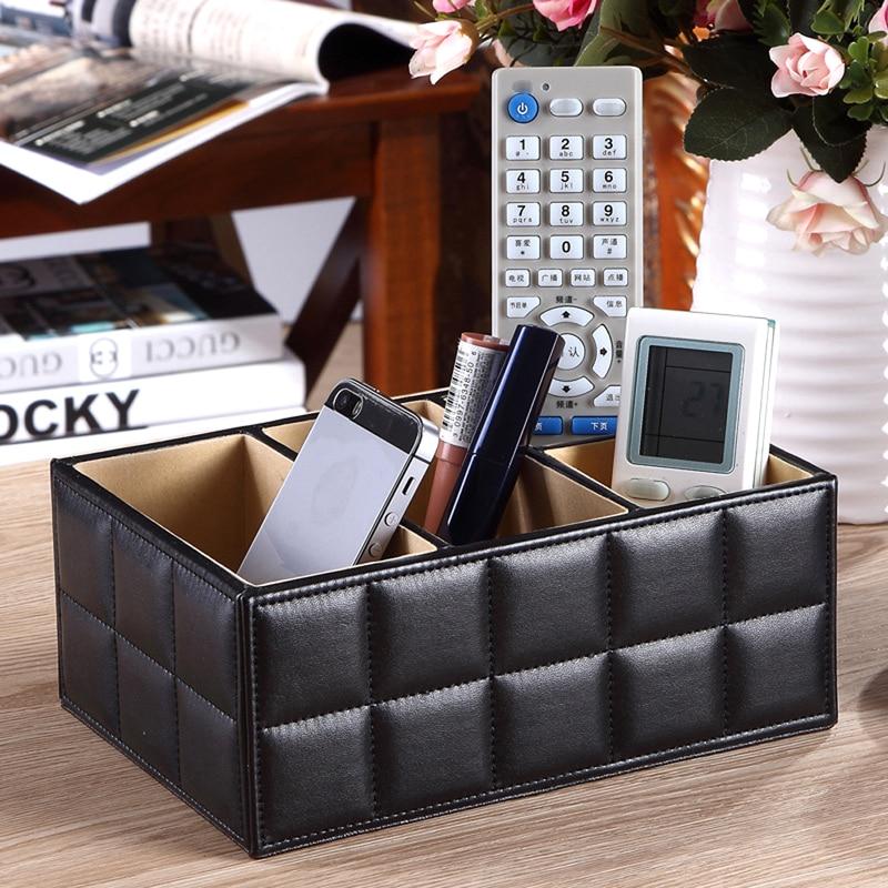 Cuero de la PU Cajas de almacenamiento de lujo para el control remoto Teléfono Cosmético Maquillaje Contenedor Oficina en casa Organizador de coche Negro Blanco
