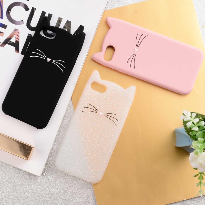 Paar Leuke Glitter Bebaarde Kat Case Voor iphone 6 6 S 7 8 Plus X XR XS Max SE 5 5 s 5C Squishy liefhebbers Kat Cover Mobiele Telefoon Tassen