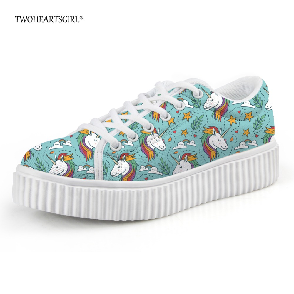 Twoheartsgirl Kawaii Cartoon Unicorn Printed Women Shoes Flats Creepers Breathable Ladies Flat Platform Shoes Breathable Creeper women creepers shoes 2015 summer breathable white gauze hollow platform shoes women fashion sandals x525 50