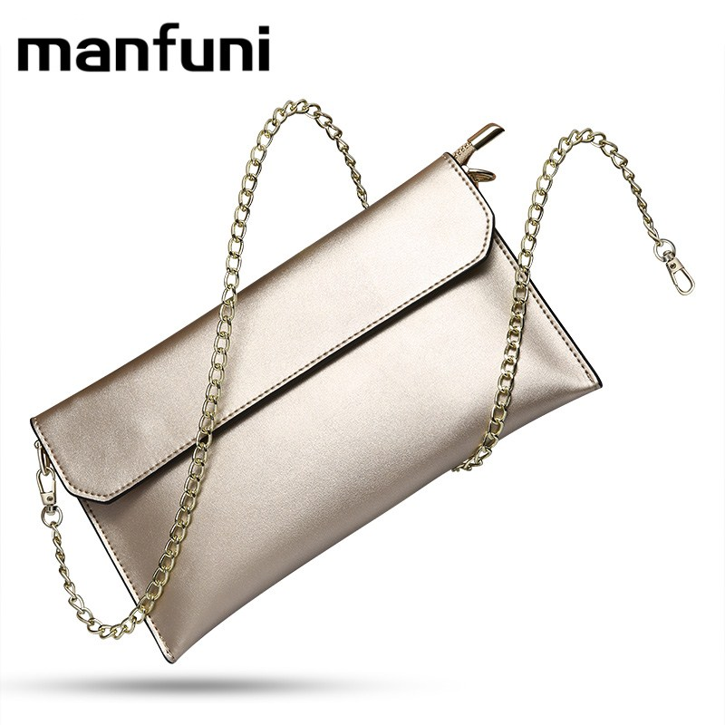 MANFUNI Envelope Day Clutches Bags For Women cow leather Crossbody Bags Chain shoulder strap card holder wallet purse Female